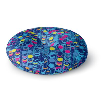 Frederic Levy-Hadida Color Hiving Abstract Round Floor Pillow Size: 23 x 23, Color: Navy