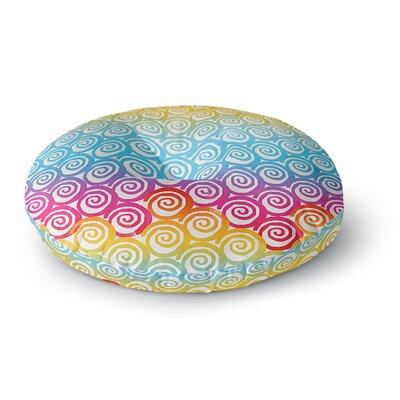 Frederic Levy-Hadida Ethnic Spirals Rainbow Round Floor Pillow Size: 26 x 26