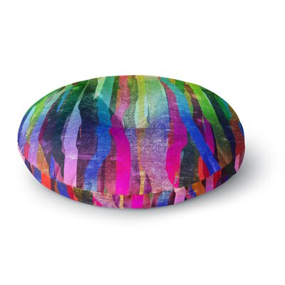 Frederic Levy-Hadida Jungle Stripes Painting Round Floor Pillow Size: 26 x 26, Color: Green/Blue/Pink