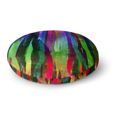 Frederic Levy-Hadida Jungle Stripes II Rainbow Round Floor Pillow Size: 26 x 26