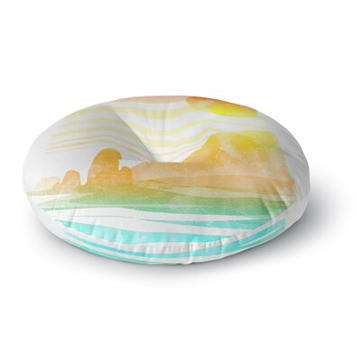 Frederic Levy-Hadida Landscape Painted with Tea Coastal Round Floor Pillow Size: 26 x 26