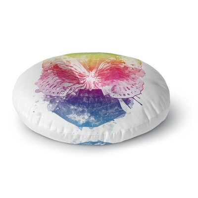 Frederic Levy-Hadida Butterfly Skull Rainbow Round Floor Pillow Size: 23 x 23