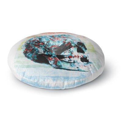 Frederic Levy-Hadida Floral Skully 2 Round Floor Pillow Size: 26 x 26