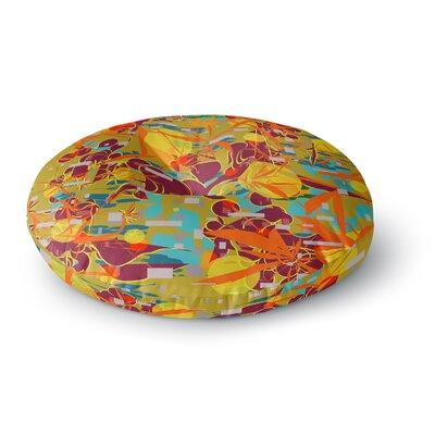 Frederic Levy-Hadida Foliage Folie 3 Maroon Digital Round Floor Pillow Size: 23 x 23