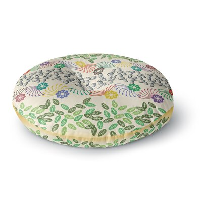 Famenxt Flowers and Leaves Pattern Abstract Geometric Round Floor Pillow Size: 26 x 26, Color: Beige