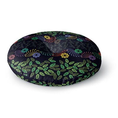 Famenxt Flowers and Leaves Pattern Abstract Geometric Round Floor Pillow Size: 26 x 26, Color: Black