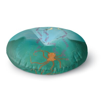 Famenxt Octopus Flying Manta Rays Round Floor Pillow Size: 26 x 26