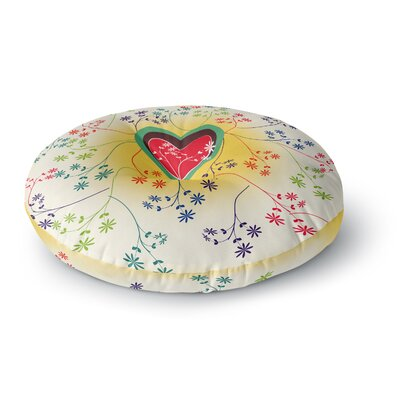 Famenxt Romantic Heart Round Floor Pillow Size: 26 x 26, Color: Yellow