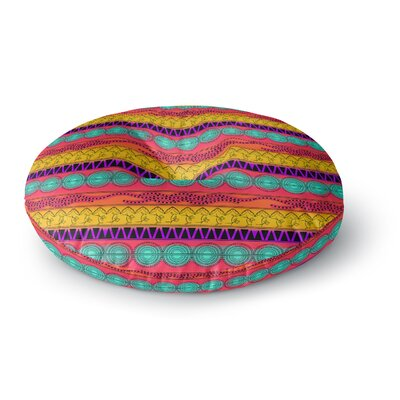 Famenxt Pattern Watercolor Colorful Pattern Round Floor Pillow Size: 26 x 26