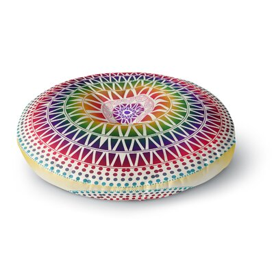 Famenxt Colorful Vibrant Mandala Rainbow Geometric Round Floor Pillow Size: 26 x 26