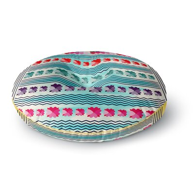 Famenxt Romantic Love Pattern Abstract Round Floor Pillow Size: 26 x 26, Color: Teal/Yellow