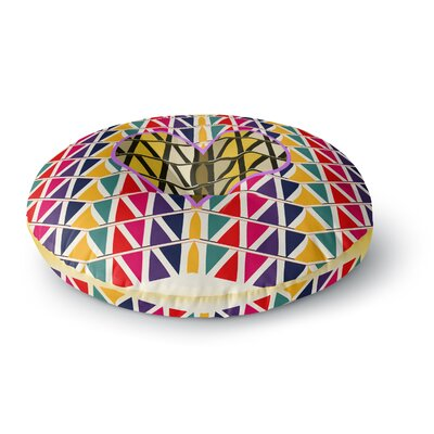 Famenxt Heart in Abstract Pattern Geometric Abstract Round Floor Pillow Size: 23 x 23