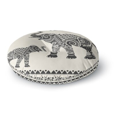 Famenxt Ornamental Indian Elephant Digital Round Floor Pillow Size: 23 x 23, Color: Black/Beige