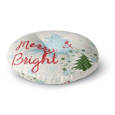 Famenxt Merry and Bright Holiday Typography Round Floor Pillow Size: 23 x 23
