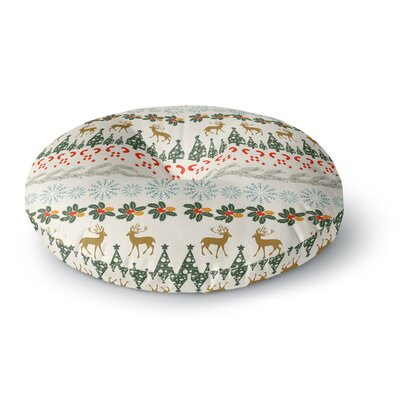 Famenxt Christmas Vibes Holiday Pattern Round Floor Pillow Size: 26 x 26