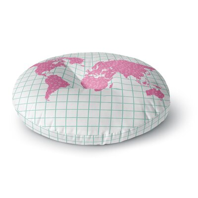 Famenxt Grid Map Digital Round Floor Pillow Size: 23 x 23