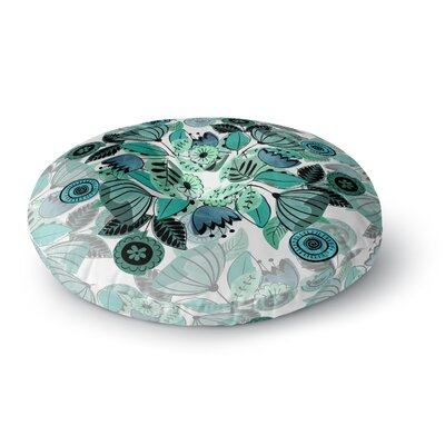 Famenxt Fresh Spring Flowers FloralRound Floor Pillow Size: 26 x 26, Color: Green