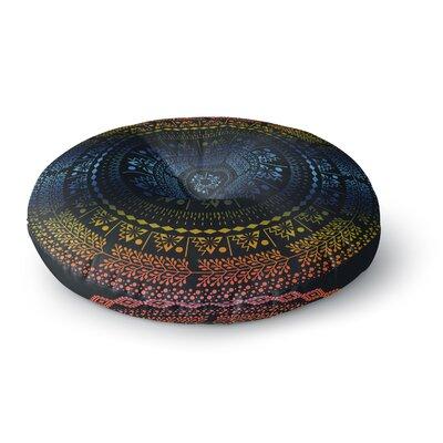 Famenxt Swadesi Boho Mandala Illustration Round Floor Pillow Size: 23 x 23, Color: Blue/Yellow
