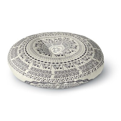 Famenxt Swadesi Boho Mandala Illustration Round Floor Pillow Size: 26 x 26, Color: Beige