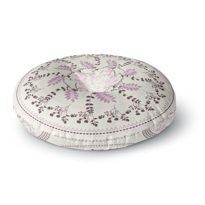 Famenxt Magical Vibes Boho Madellion Pattern Round Floor Pillow Size: 26 x 26, Color: White/Pink