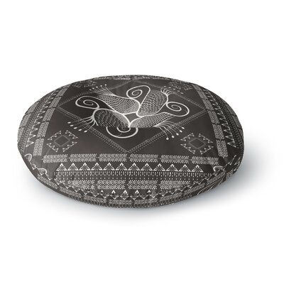 Famenxt Paisley Into the Dreams Dark Digital Round Floor Pillow Size: 26 x 26, Color: Gray