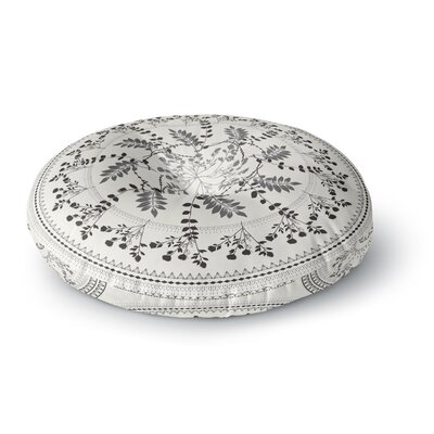 Famenxt Magical Vibes Boho Madellion Pattern Round Floor Pillow Size: 23 x 23, Color: White/Black