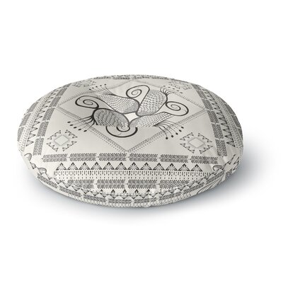 Famenxt Paisley Into the Dreams Dark Digital Round Floor Pillow Size: 26 x 26, Color: Beige