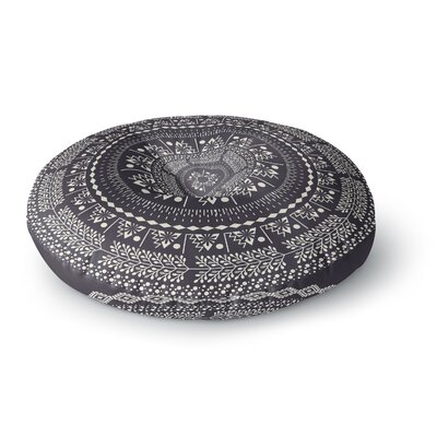 Famenxt Swadesi Boho Mandala Illustration Round Floor Pillow Size: 23 x 23, Color: Black