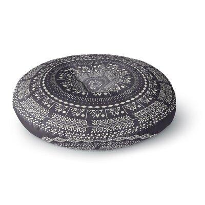 Famenxt Swadesi Boho Mandala Illustration Round Floor Pillow Size: 26 x 26, Color: Black