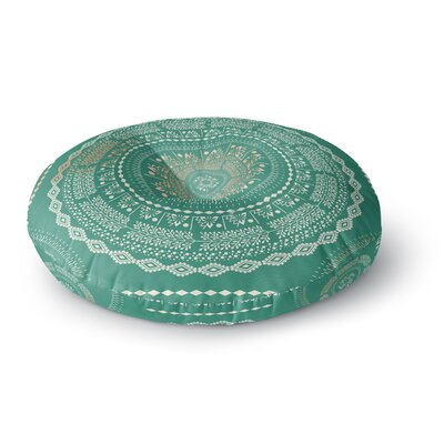 Famenxt Culture Cut Boho Mandala Ilustration Round Floor Pillow Size: 23 x 23, Color: Green/Mint
