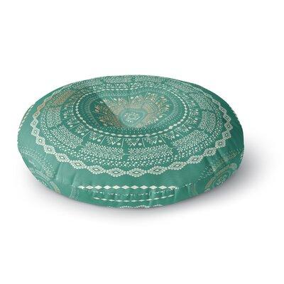 Famenxt Culture Cut Boho Mandala Ilustration Round Floor Pillow Size: 26 x 26, Color: Green/Mint