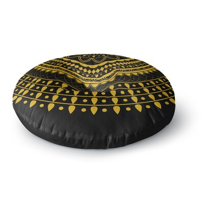 Famenxt Golden Vibes Mandala Digital Round Floor Pillow Size: 26 x 26