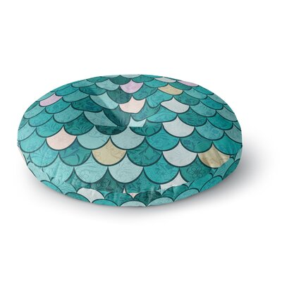 Famenxt Mermaid Fish Scales Nautical Illustration Round Floor Pillow Size: 26 x 26, Color: Teal