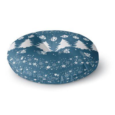 Famenxt Merry Merry Christmas Holiday Illustration Round Floor Pillow Size: 23 x 23