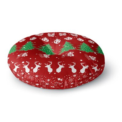 Famenxt Christmas Vibes Illustration Round Floor Pillow Size: 26 x 26