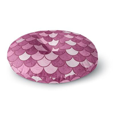 Famenxt Mermaid Fish Scales Nautical Illustration Round Floor Pillow Size: 26 x 26, Color: Pink