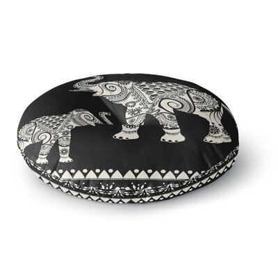 Famenxt Ornamental Indian Elephant Digital Round Floor Pillow Size: 26 x 26, Color: Black/White