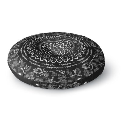 Famenxt Boical Folk Vibes Mandala Illustration Round Floor Pillow Size: 23 x 23, Color: Black/White