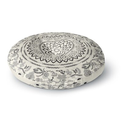 Famenxt Boical Folk Vibes Mandala Illustration Round Floor Pillow Size: 26 x 26, Color: Beige/Black