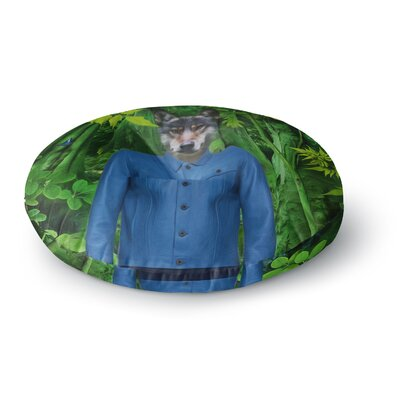 Natt Into the Leaves N3 Wolf Round Floor Pillow Size: 26 x 26