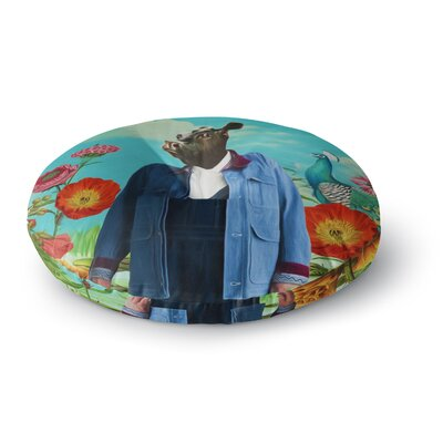 Natt Family Portrait N2 Cow Round Floor Pillow Size: 23 x 23