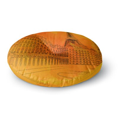 Fotios Pavlopoulos Parisian Sunsets City Round Floor Pillow Size: 26 x 26