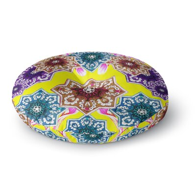 Fernanda Sternieri Flower Power FloralRound Floor Pillow Size: 26 x 26, Color: Yellow/Teal