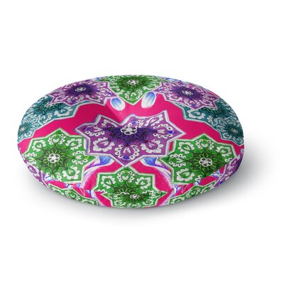 Fernanda Sternieri Flower Power FloralRound Floor Pillow Size: 23 x 23, Color: Pink/Green