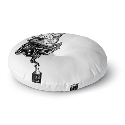 Graham Curran All Aboard Round Floor Pillow Size: 26 x 26, Color: White
