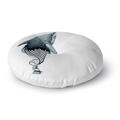 Graham Curran Shark Record Round Floor Pillow Size: 26 x 26, Color: White