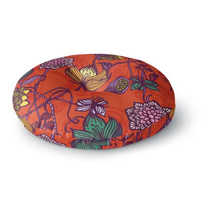 Gill Eggleston Garden Blooms Hot Floral Round Floor Pillow Size: 23 x 23