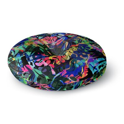 Gabriela Fuente Flora Splash Dark Rainbow Round Floor Pillow Size: 26 x 26