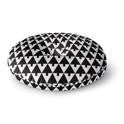 Gabriela Fuente Happy X-Mas Geometric Monotone Round Floor Pillow Size: 26 x 26, Color: Black