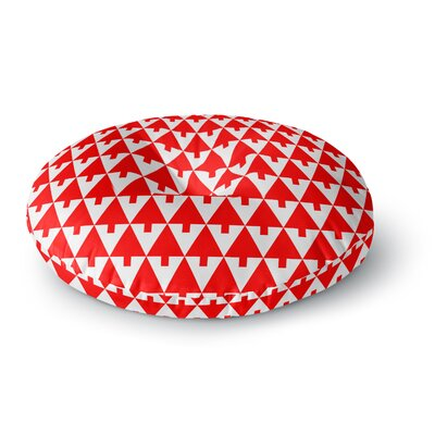 Gabriela Fuente Happy X-Mas Geometric Monotone Round Floor Pillow Size: 26 x 26, Color: Red